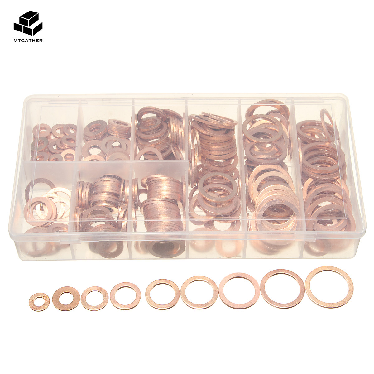 400Pcs Solid Copper Washers Sump Plug Assorted Washer Set Crush Washers Seal Flat Ring Kit Sump Plug Gask With Plastic Box 9Size 100 20pcs 10 14 1mm copper sealing washer solid gasket sump plug oil for boat crush washer flat seal ring tool parts accessories