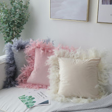 Nordic ins true feather pillowcase cushion car sofa pillow princess powder girl Home decoration ins hot feather 70