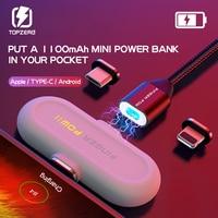 Finger Pow Mini moc magnetyczna banku dla iPhone/Micro USB/typ C 1100 mAh Fingerpow szybkie ładowanie banku mocy z kabel magnetyczny|Powerbank|Telefony komórkowe i telekomunikacja -