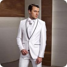 Custom White Men Suits Wedding Bridegroom Groom Shawl Lapel Formal Tuxedo Prom Party Man Blazer Costume Slim Fit Terno Masculino