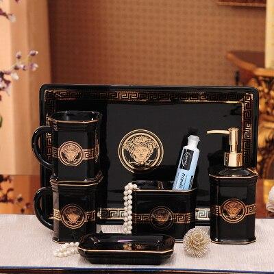 Bathroom Ceramic Wash ware European six piece set washing tools cup rinsing mug toothbrush holder lotion