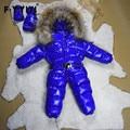 Niños traje para la Nieve Muchachas Muchachos Snowsuit Invierno Mono Del Bebé Del Invierno Del Mameluco Niños Guardapolvos Abajo Acolchada A Prueba de Viento Para El Invierno En Russion