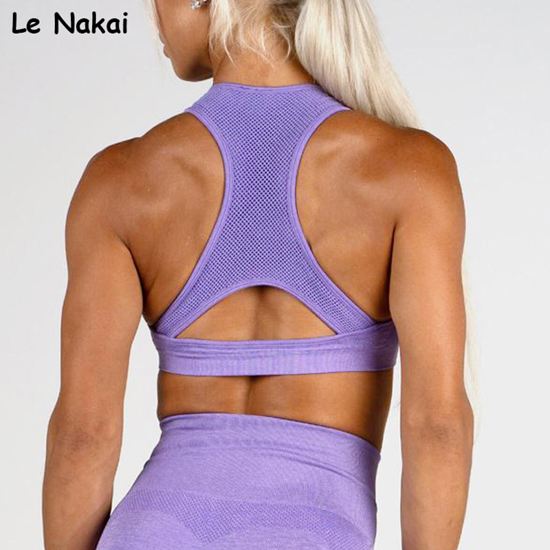 High impact seamless sports bra racer back gym bra padded workout pink yoga bras fitness gym crop top push up bras