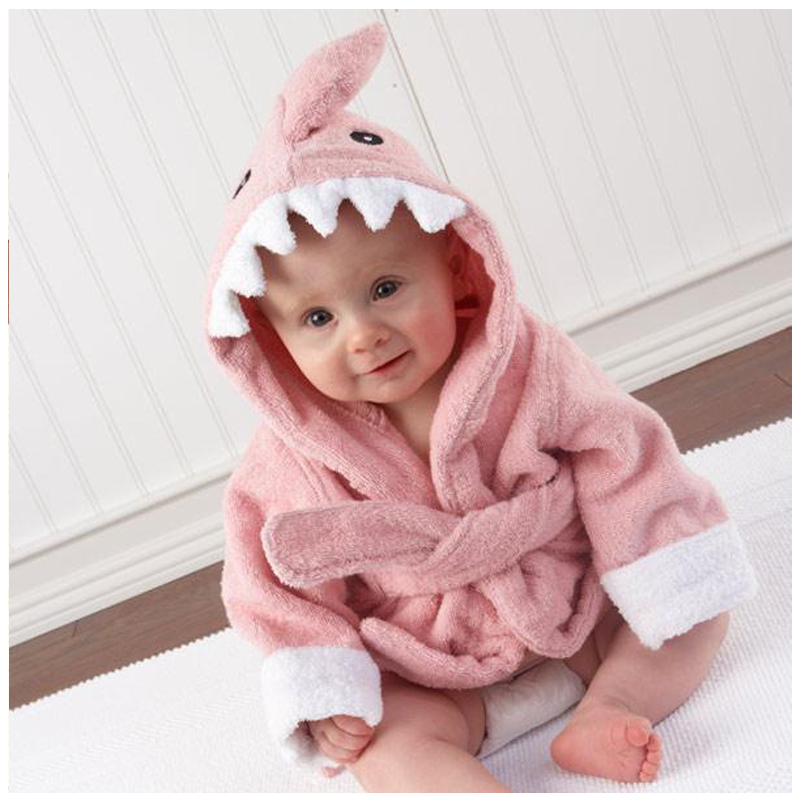 b2cfbfa5db Childrens Bathrobes Baby Robe Hooded Cotton Sleepwear Cartoon Cow Lion  Penguin Bathrobes Kids Soft Bath Robes Poncho Towel