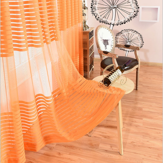 Orange Living Room Curtains Contemporary Design Luxury European Color Sheer For Balcony Bedroom Curtain Window Screens Tulle Accept Custom