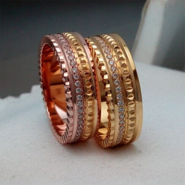 New Tide Product Cnc Micro Gear Set Zircon Gold Ring Women And Men ...