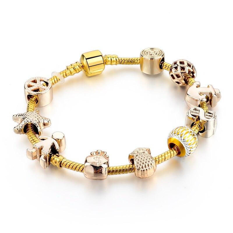Золотой якорный браслет женский