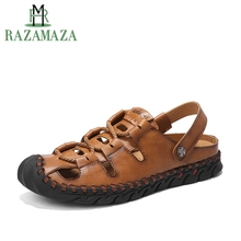 RAZAMAZA Men's Real Genuine Leather Flats Sandals Gladiator Holes Summer  Shoes Vintage Flats Sandals Man Footwear