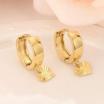 14 ك الصلبة الذهب GF القلب إسقاط أقراط نساء / فتاة ، والحب العصرية الجميلة الأزياء والمجوهرات لأوروبا الشرقية أطفال الأطفال أفضل هدية 1