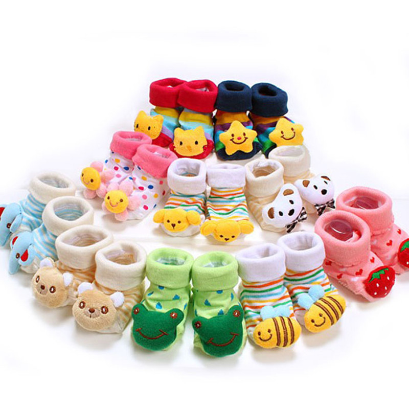 1 Pair Newborn Baby Socks Anti Slip Cotton Lovely Shoes Animal Cartoon Slippers Boots Boy Girl Skid Socks Infant Products 2017