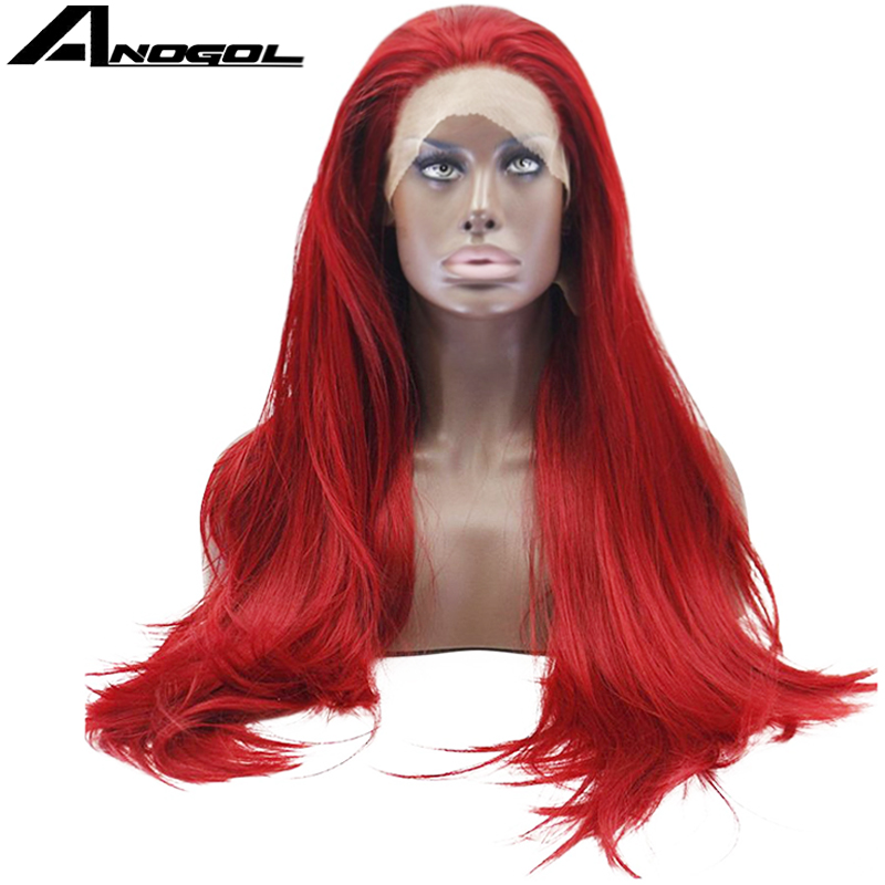 Anogol High Temperature Fiber Pelucas De Mujer Long Straight Full Hair Wigs Red Synthetic Lace Front