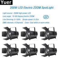 6Pcs/Lot LED Electronic Zoom lights 200w White LED lamp DMX512 Master/Slave dmx LED Par for dj disco solar light stage lighting