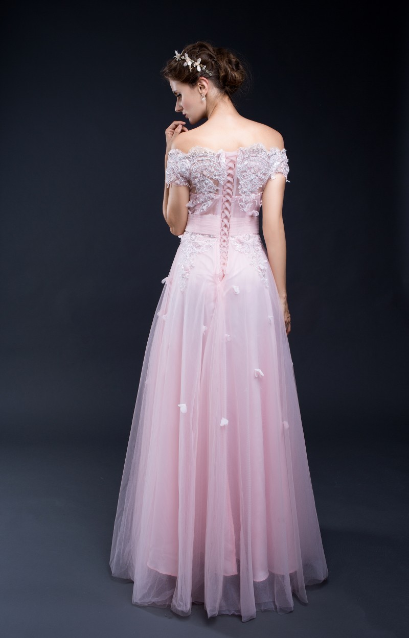 2017 In Stock 100% Real Pic Long A Line Pink Evening Dresses Short ...