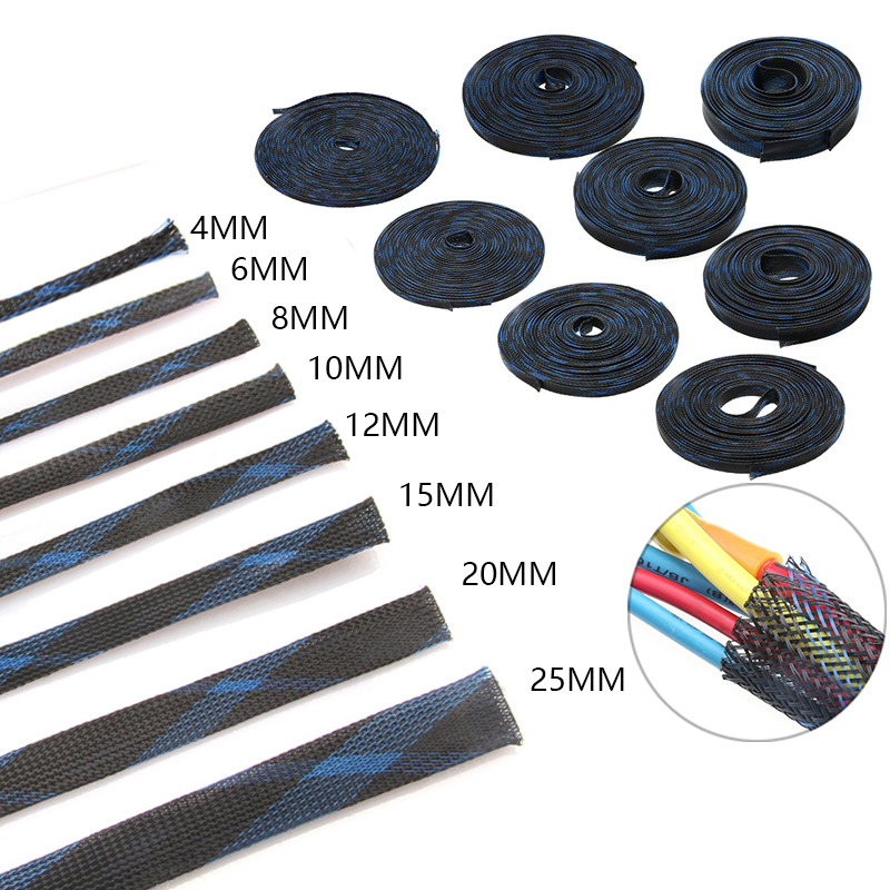 10M Black+Blue Insulation Braided Sleeving Tight PET Expandable Cable Sleeve Wire Gland Cables Protection 4/6/8/10/12/15/20/25mm