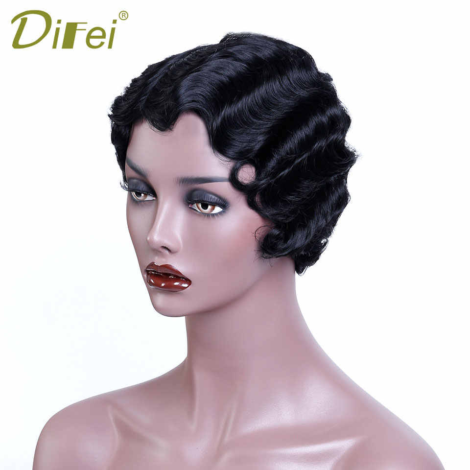 Short Finger Waves Black Cute Wig African Afro Hair Synthetic Wigs for Women's Wavy Short Female Wig