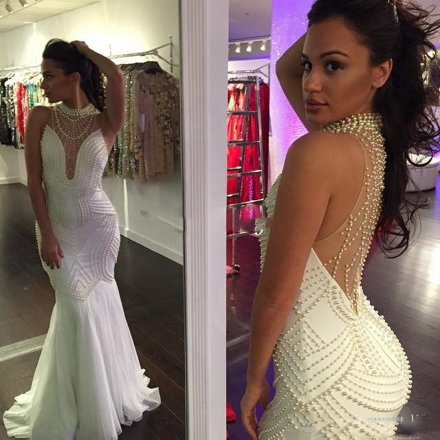White Ivory Sexy Pearls Mermaid Illusion Back Sleeveless Boho Wedding Dress Gown Sofuge Vestido De Noiva Dubai Arabic