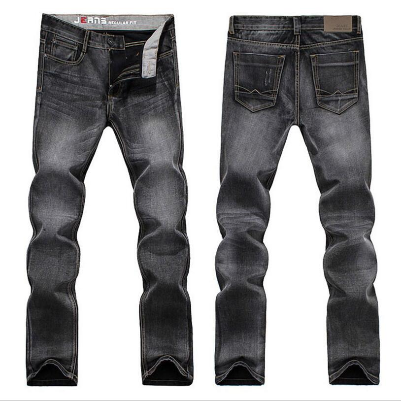 Classic Denim Jeans Mens Dark Gray Straight Jeans Good Quality Men Solid Full Length Den ...
