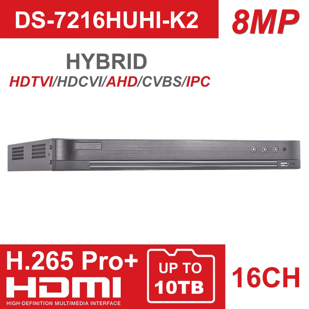 16CH 5 In 1 AHD DVR DS 7216HUHI K2 Support CVBS TVI CVI AHD Analog IP