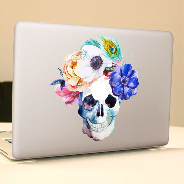 Watercolor rose feather art skull vinyl decal laptop sticker for apple macbook air pro 13