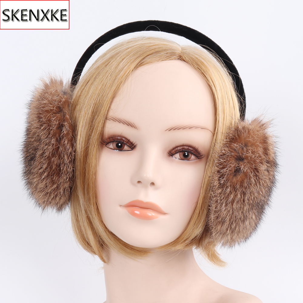 2019 New Winter Real Rabbit Fur Earmuffs Women Warm Fluffy Rabbit Fur Plush Ear Muff Ladies Fashion 100% Natural Fur Earflaps