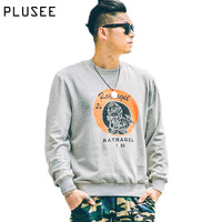 Plusee Men Spring Sweatshirt 2017 Trend High Quality Plus Size Cotton Long Sleeve Loose Casual Print