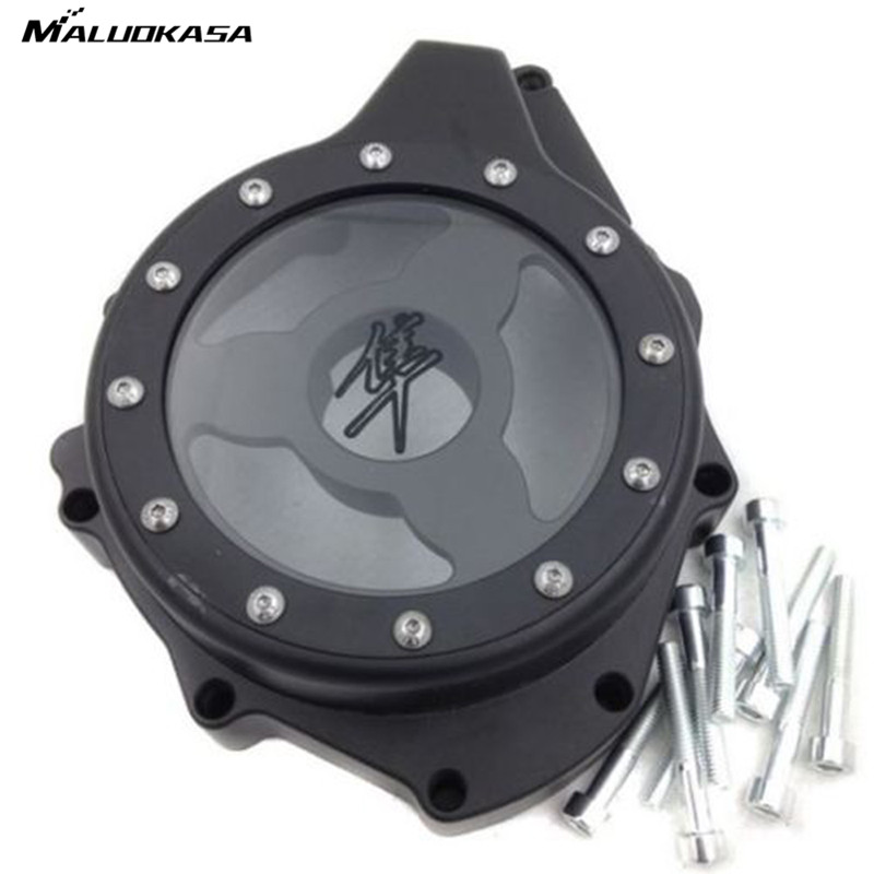 MALUOKASA Motorcycle Engine Stator Cover New See Through For Suzuki GSX1300R Hayabusa 1999-2010 2011 2012 2013 2014 2015 Black aftermarket free shipping motorcycle parts glass see through engine stator cover for suzuki gsx1300r hayabusa 1999 2015 chromed