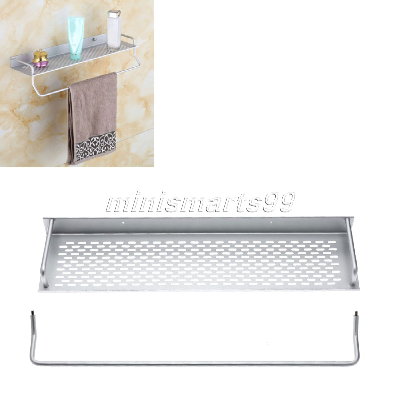 Aluminium Bathroom Shelves Bath Rack Holder Wtowel Bar Rack Wall