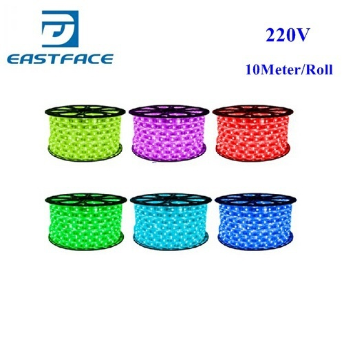 4W/M 10M 3528 SMD LED Strip  IP66 Waterproof 220V 60LEDs/M 1200 LED White/Blue/Green/Red/Yellow LED Light Strip + Controler