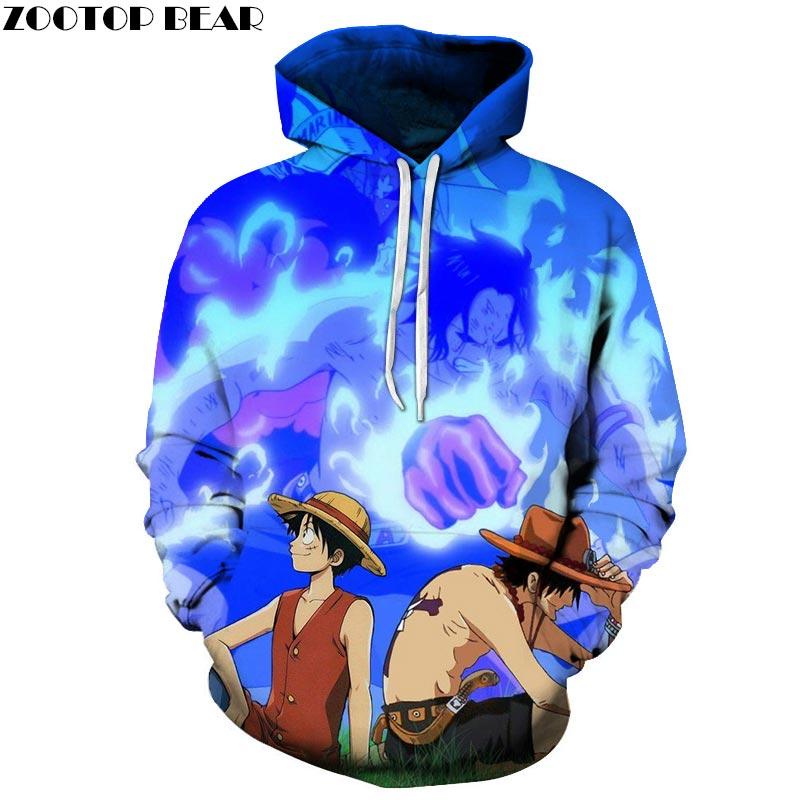 Leisure One Piece 3D Print Hoodies Men Women Sweatshirts Hooded Tracksuits Pullover Streetwear Spring Coat ZOOTOP BEAR Drop Ship