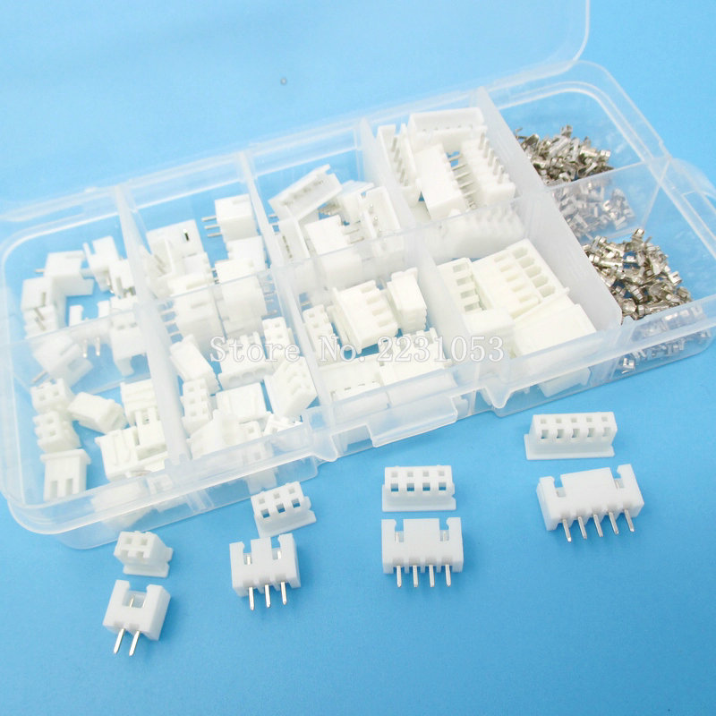 230pcs XH2.54 2p 3p 4p 5 Pin 2.54mm Pitch Terminal Kit / Housing / Pin Header Connector Wire Connectors Adaptor XH Kits TJC3