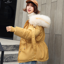 Orwindny Large Fur Collar Winter Parkas Women Loose Hooded Winter Coat Female Thicken Warm Coat Cotton Padded Jacket Outwear Top