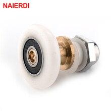 5 шт. NAIERDI нержавеющая сталь латунные душевые колеса дверные ролики бегуны резиновые колеса шкивы для ванной комнаты приспособление оборудование