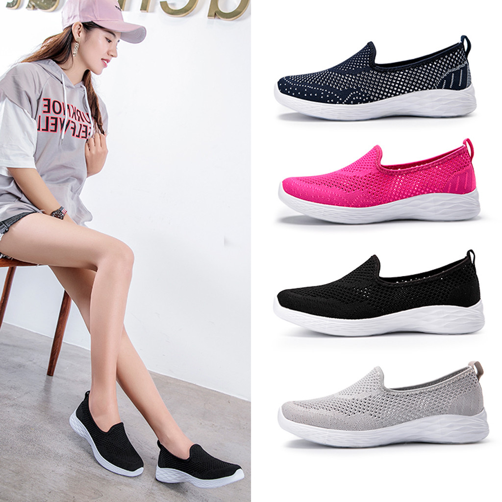 Women's Leisure Breathable Shoes Anti-Slip Mesh Outdoor Fitness Running Shoes Sport Sneakers Pregnant women's Flat Shoes@20(China)
