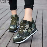 AGUTZM Female Casual Shoes 2018 Autumn Winter New Brand Fashion High Top Camouflage Women Shoes Comfort
