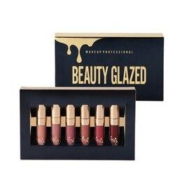 Belleza esmaltada 6 unids/set lápiz labial líquido brillo de labios maquillaje profesional lápiz labial mate Kit cosmético de larga duración Maquiagem