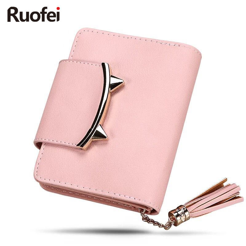 2017 Korea Cute Cat Anime Kulit Ruo fei Mini Wallet Wanita Kecil - Dompet