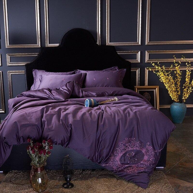Algodón egipcio de lujo corona Bordado Ropa de cama púrpura juego de ...