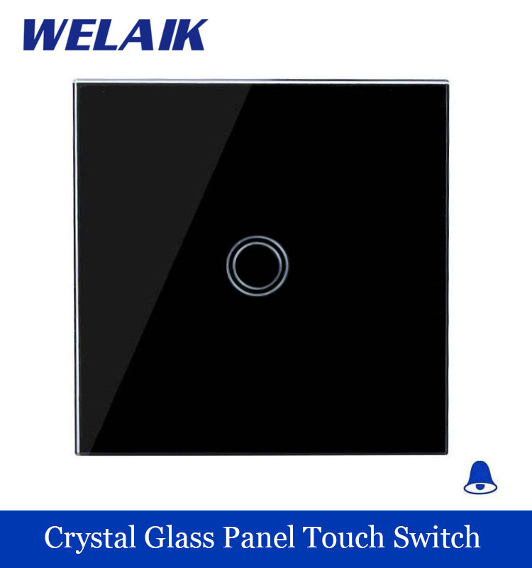 WELAIK Crystal Glass Panel Switch black Wall Switch EU Doorbell Touch Switch  Light Switch 1gang1way AC110~250V A1911MLXB 2017 smart home crystal glass panel wall switch wireless remote light switch us 1 gang wall light touch switch with controller