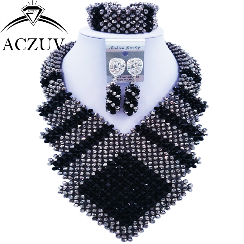 ACZUV Latest Black and Silver Crystal Beads African Jewelry Set for Women Nigerian Wedding Necklace CFKK005ACZUV Latest Black and Silver Crystal Beads African Jewelry Set for Women Nigerian Wedding Necklace CFKK005