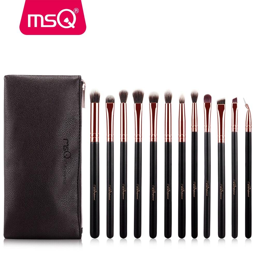 MSQ 12 pcs Fard À Paupières Maquillage Pinceaux Pro Rose Or Ombre À Paupières Mélange Pinceaux de Maquillage Synthétique Souple Cheveux Pour beauté