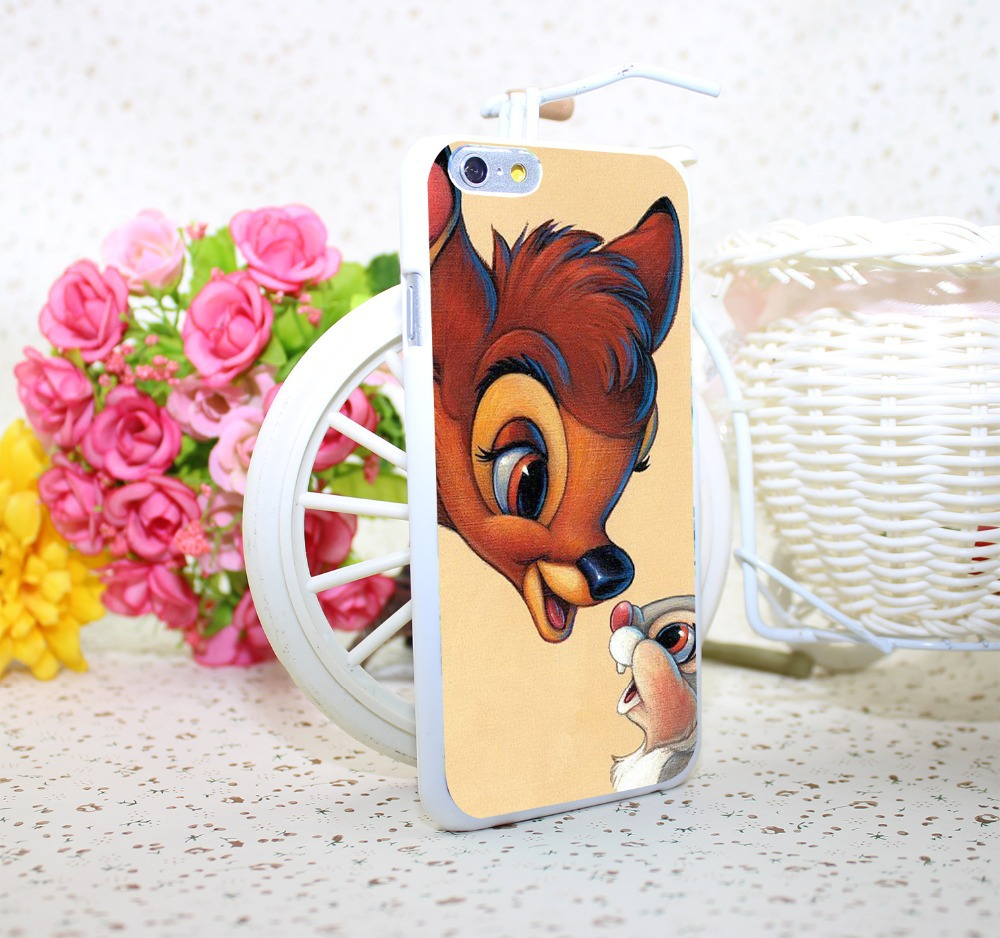 bambi and thumper White Hard Case Cover for iPhone 6 6s plus 5 5s 4 s White Skin Print Series