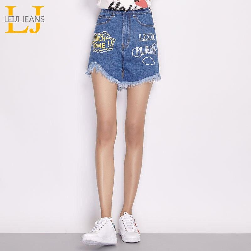 2019 LEIJIJEANS Summer Shorts Plus Size L-6XL With Tassel Letter Printing Pattern Zipper Fly Mid Waist Women Loose Denim Shorts