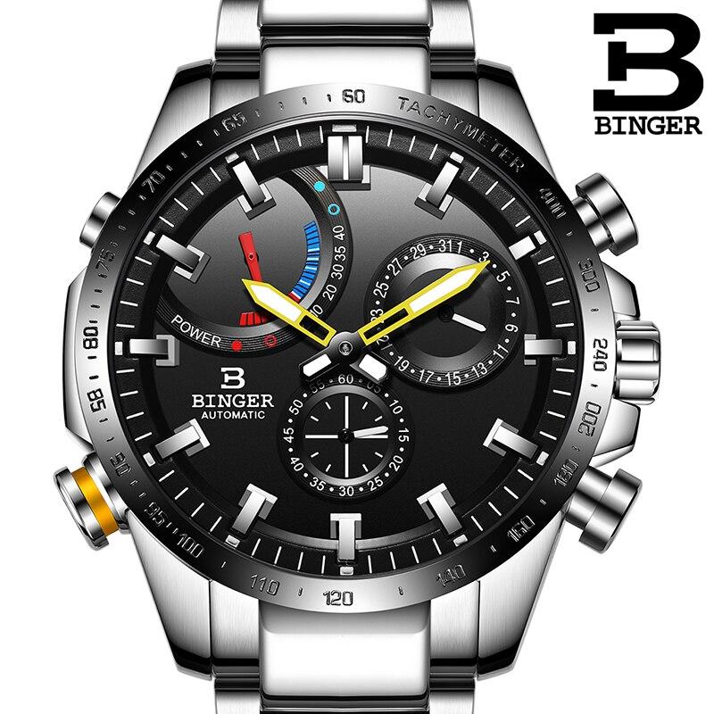 Genuine Luxury Switzerland BINGER Brand Men automatic mechanical Luminous waterproof full steel belt male fashion watch
