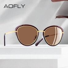 Aofly óculos de sol feminino polarizado, óculos de sol estilo olho de gato, vintage, polarizado, moda feminina uv400 a107 2020