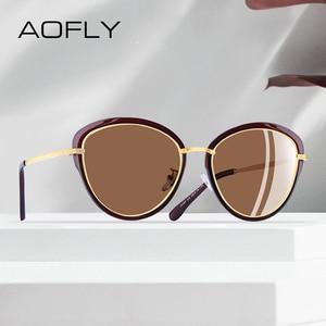 Image 1 - Aofly óculos de sol feminino polarizado, óculos de sol estilo olho de gato, vintage, polarizado, moda feminina uv400 a107 2020