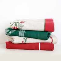 New Hot Brand Christmas Embroidery Satin Tablecloth Red Solid Color Full Embroidered Xmas Party Table Linen Cloth Cover Overlay