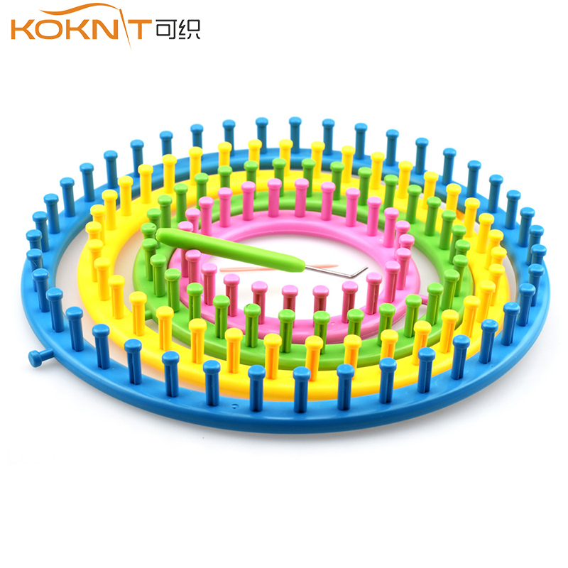 KOKNIT 1 Color Round Cap Knitting Loom Machine With Needle Knitting DIY Knitting Kit Embroidery Tool 4 Sizes 14cm 19cm 24cm 29cm
