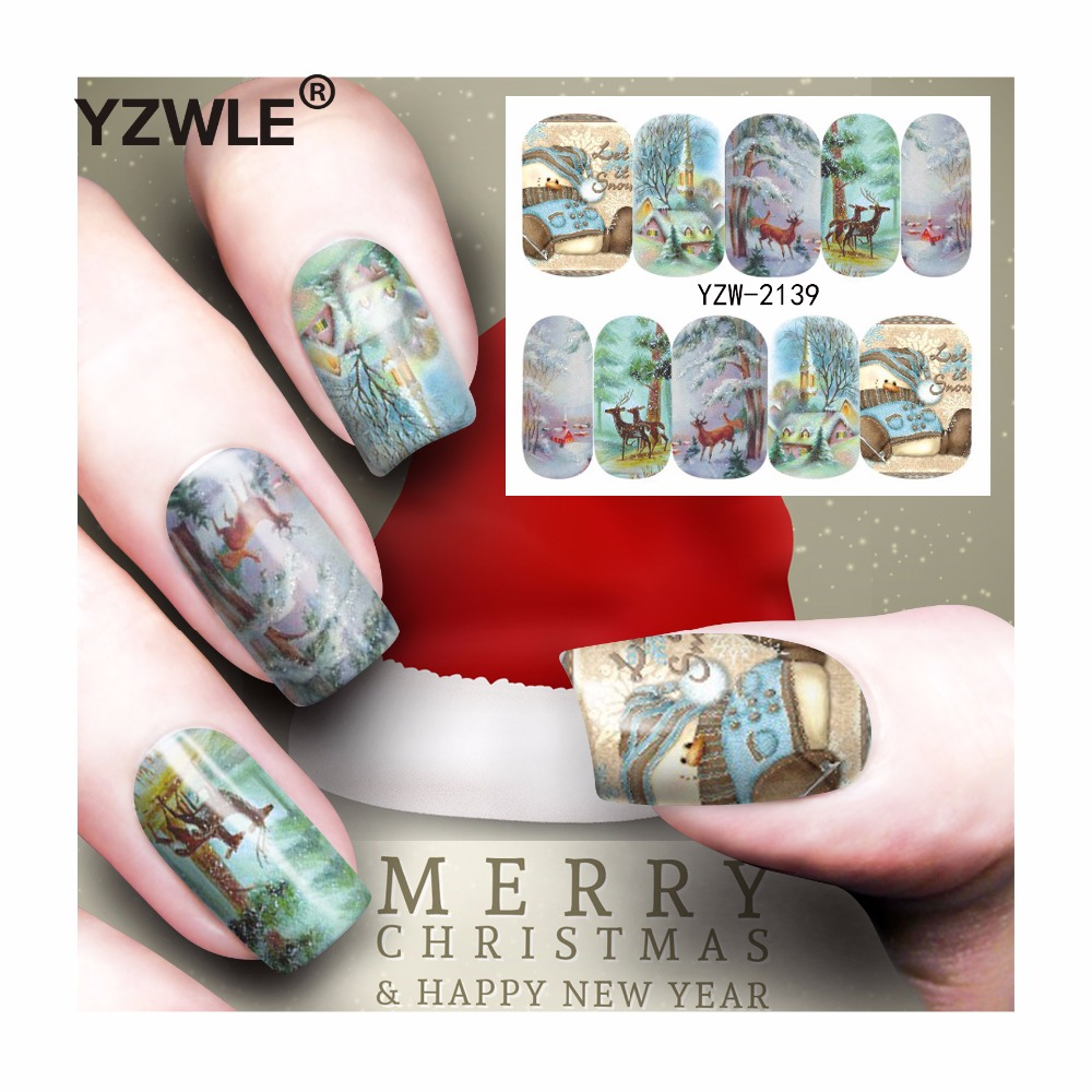 YZWLE 1 Sheet Christmas Design DIY Decals Nails Art Water Transfer Printing Stickers Accessories For Manicure Salon (YZW-2139) yzwle 1 sheet hot gold 3d nail art stickers diy nail decorations decals foils wraps manicure styling tools yzw 6015