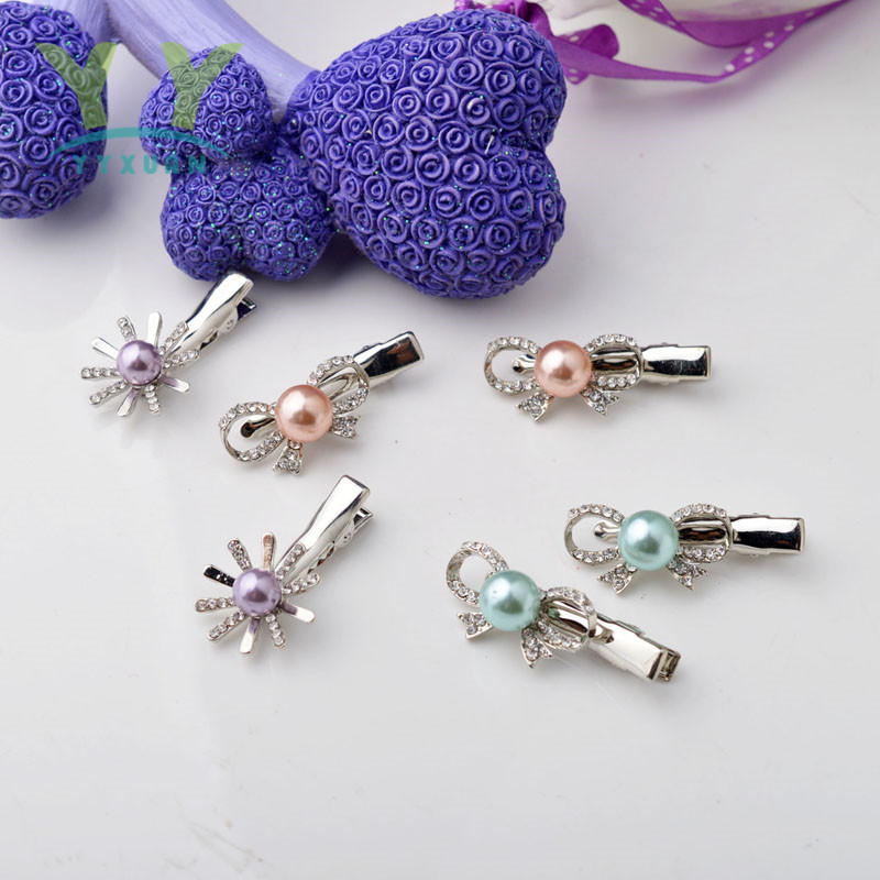YYXUAN Metal Silver Tone Safety Pins Hair Clip Hairpin Pearl with Rhinestones Barrette Bobby Pins Gift han edition hair pearl four petals small clip hairpin edge clip a word free home delivery
