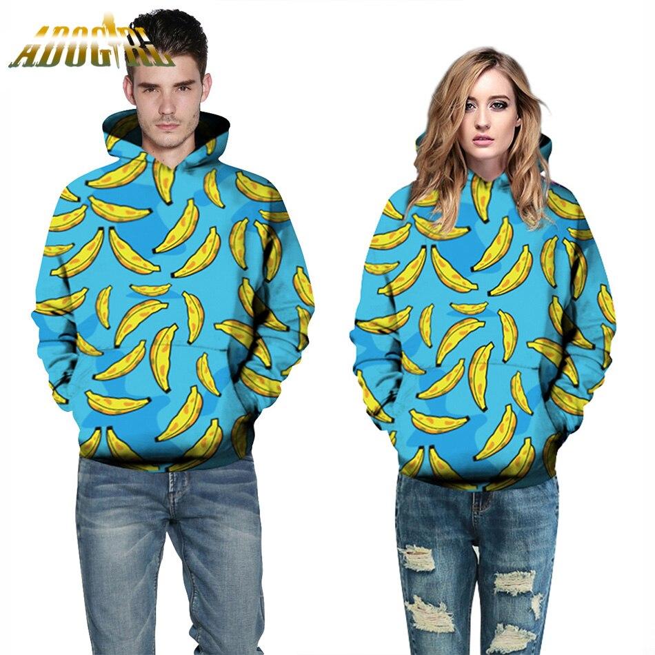 Fashion Golden Bananas Hooded Sweatshirt For Women Men Sky Blue Long Sleeve Hoodies Autumn Casual Loose With Pockets Sweatshirts